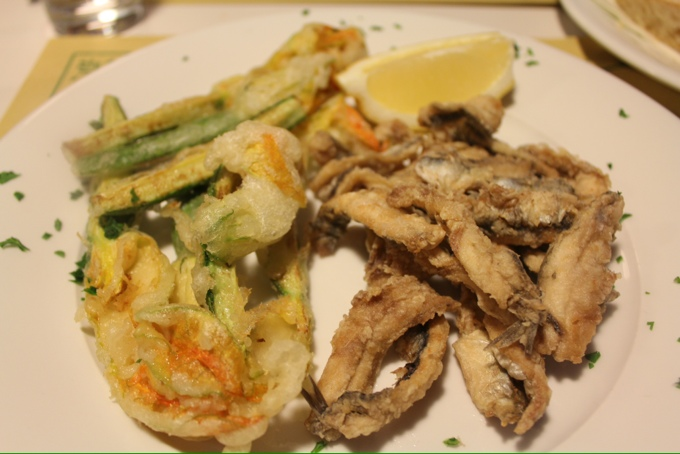 Fried zucchini flowers and anchovies at Alle 8 Porte in Turin