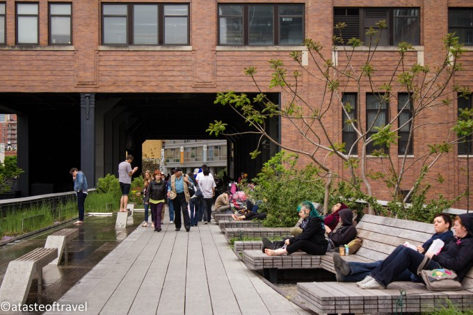 Reclining wooden chaises along the High Line, New York