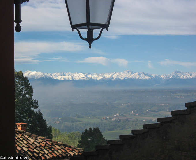 The snow covered Alps can be seen from Monforte d'Alba