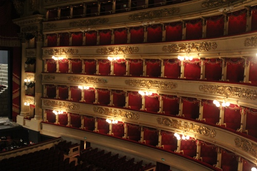 Rows of private theatre boxes line the walls of La Scala, Milan