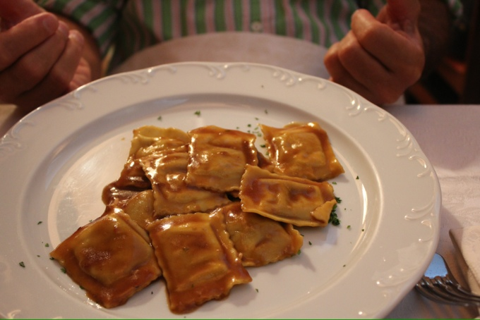 Agnoletti with meat sauce at La Gola in Turin