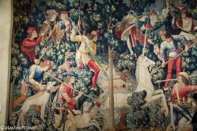 The Unicorn is Attacked-one of the Unicorn Tapestries in The Cloisters, New York