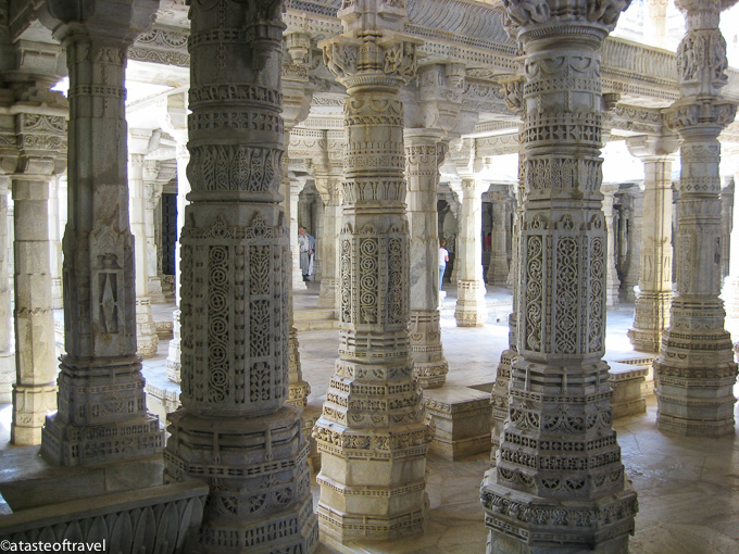 The carved columns at the Jain Temple at Ranekpur